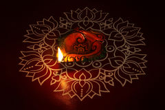 Traditional kolam with Oil Lamp. Indian Traditional kolam with Oil Lamp Royalty Free Stock Photography