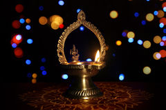 Traditional kolam with Oil Lamp Royalty Free Stock Image