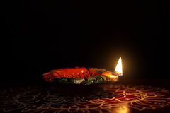 Traditional kolam with Oil Lamp. Indian Traditional kolam with Oil Lamp Stock Photo