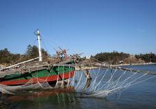 Traditional Korea - shrimp boat Stock Photography