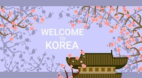 Traditional Korea Temple Or Palace Over Blooming Sakura Tree Background Welcome To Korea Poster Stock Photos