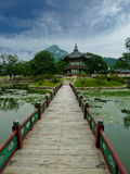 Korean Palace nice pond Royalty Free Stock Images