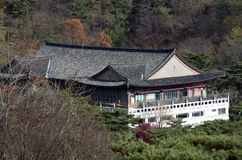 Traditional Korean architecture building mountain Stock Photo