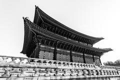 Traditional korean architecture. Gyeongbokgung Palace,Seoul, South Korea royalty free stock photos