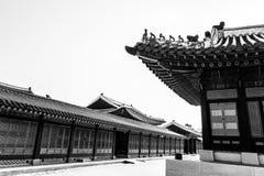 Traditional korean architecture. Gyeongbokgung Palace,Seoul, South Korea royalty free stock images