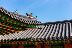 Traditional korean architecture roof eave Stock Images