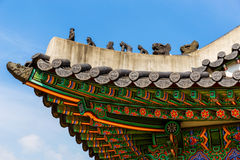 Traditional korean architecture roof eaves Stock Images