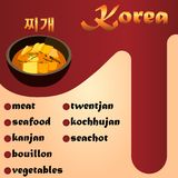 Meat Korean soup Jjigae. Traditional Korean cuisine, soup and its ingredients Royalty Free Stock Images
