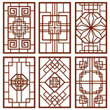 Traditional korean door and window ornament, chinese wall design, japan frames vector set Royalty Free Stock Photos