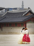 Traditional Korean Dress. It is very popular for tourists and locals alike to dress up in traditional Korean dress for a photo op while visiting South Korea`s Royalty Free Stock Photography