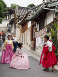 Traditional Korean Dress. It is very popular for tourists and locals alike to dress up in traditional Korean dress for a photo op while visiting South Korea`s Stock Photos