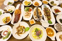 Traditional Korean Feast table. Such dishes are prepared for the holidays. Seoul, South Korea