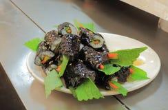 Traditional Korean food seaweed roll Stock Photos