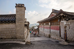 Traditional Korean style architecture at Bukchon Hanok Village  in Seoul, South Kore Royalty Free Stock Image