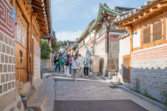 Traditional Korean style architecture at Bukchon Hanok Village in Seoul, South Korea. Royalty Free Stock Images