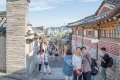 Traditional Korean style architecture at Bukchon Hanok Village in Seoul, South Korea. Stock Photo
