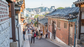 Traditional Korean style architecture at Bukchon Hanok Village in Seoul, South Korea. Royalty Free Stock Photo