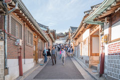 Traditional Korean style architecture at Bukchon Hanok Village in Seoul, South Korea. Royalty Free Stock Photography