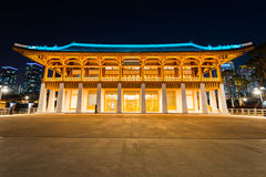 Traditional Korean style architecture at night in Incheon,Korea Stock Photo