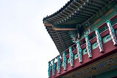 Traditional Korean style building with colorful kiwa and ornaments at the Northern Sky Skyway in Seoul, South Korea royalty free stock photography