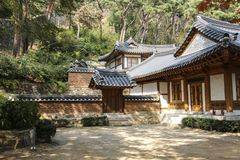 Traditional Korean-style buildings in front of the entrance to Jeondeungsa Temple in Ganghwa-gun, Incheon, South Korea