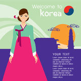 Traditional Korean style. Woman in national dress. The Traditional Korean style. Woman in national dress vector illustration