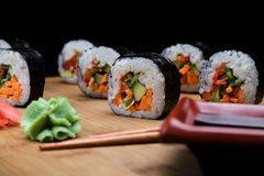 Traditional Korean sushi rolls with vegetables Stock Image