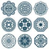 Traditional korean symbols, vector korea pattern design for bathroom repeat tiles. Traditional korean pattern illustration Stock Image