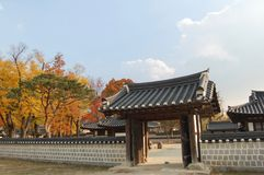 Traditional korean wall and gate in the Jeonju Hanok Village in stock image