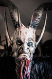 Traditional Krampus beast-like mask from Alpine region. Royalty Free Stock Photos
