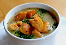 Traditional czech garlic soup stock photo