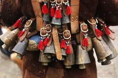 Traditional Kukeri costume bells on a traditional Bulgarian Kukeri holidays festival. Breznik, Bulgaria stock images