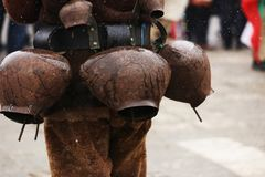 Traditional Kukeri costume bells on a traditional Bulgarian Kukeri holidays festival. Breznik, Bulgaria stock photography