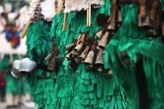 Traditional Kukeri costume bells on a traditional Bulgarian Kukeri holidays festival. Breznik, Bulgaria royalty free stock photos