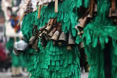 Traditional Kukeri costume bells on a traditional Bulgarian Kuke Stock Photography