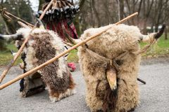 Traditional Kukeri mask from a masquerade festival. In Yambol, Bulgaria royalty free stock photos