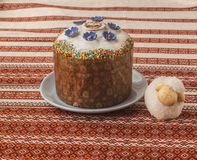 Kulich and lamb. Traditional Kulich with  icing,  and lamb. Palm Sunday. On the package of the Easter cake the first letters of the Easter cry `Christ the Father Stock Photos