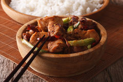 Traditional kung pao chicken in a bowl close-up. horizontal Stock Photography