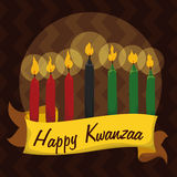 Traditional Kwanzaa Candles in Tribal Background, Vector Illustration Stock Images