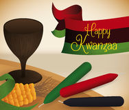 Traditional Kwanzaa Elements on the Mat, Vector Illustration Stock Photography