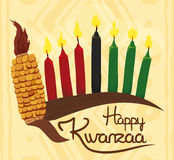 Traditional Kwanzaa Elements in Tribal Background, Vector Illustration stock images