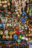Traditional lamps at Grand Bazaar. ISTANBUL, TURKEY - JUNE 22: Traditional lamps at Grand Bazaar on June 22, 2015 in Istanbul, Turkey Stock Photos