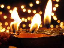 Traditional Lamps lit on the occassion of Diwali festival on the Stock Photo