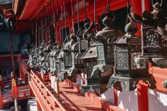 Traditional lamps of the most beautiful shrine in Japan Kasuga Taisha in Nara Japan royalty free stock images
