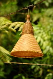 Traditional lampshade. Rattan lampshade in suburban area Stock Images