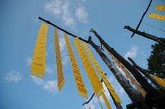 Traditional lanna tribe hanging flags in Northen Thai provinces Stock Image
