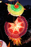 Traditional Lantern Decoration. A view of beautifully designed colorful lanterns (also locally called as skylanters) decoration lit of the occasion of Diwali / Royalty Free Stock Images