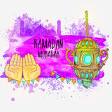 Traditional Lantern for Ramadan Mubarak. Illustration of praying human hands with traditional hanging lantern on mosque decorated abstract background for