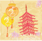 Traditional lanterns and Asian buildings. Chinese New Year card - Traditional lanterns and Asian buildings stock illustration