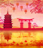 Traditional lanterns and Asian buildings Royalty Free Stock Photo